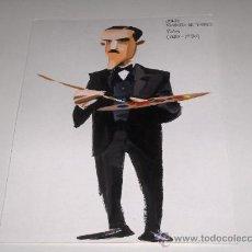 Arte: DIBUJO ORIGINAL CARICATURA JULIO ROMERO DE TORRES - TEMPERA SOBRE CARTULINA 30 X 21.5 CM - ANONIMO -. Lote 27184029