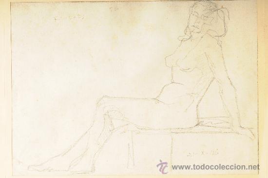 DIBUJO, MUJER POSANDO, FIRMADO LLUIS FLOTATS (Arte - Dibujos - Contemporáneos siglo XX)