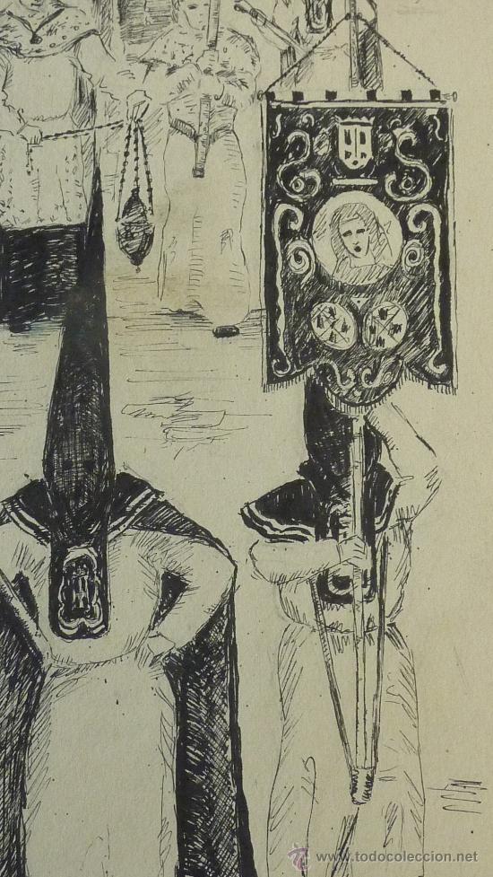 Anonimo Dibujo A Tinta De Una Procesion De Sem Sold Through