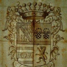 Arte: EXCELENTE ESCUDO DE ARMAS DE FINALES DEL SIGLO XVI, PAPEL VERJURADO, 5 CABEZAS CORTADAS. Lote 27378323