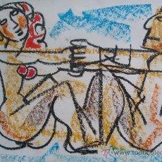 Arte: ANTONIO GARCÍA PATIÑO - 22 X 31 CM - ENMARCADO 37 X 46 CM - CERAS - LA PAREJA. Lote 27516396