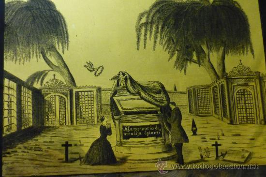 TINTA SOBRE CRISTAL, RECUERDO FÚNEBRE, S XIX (Arte - Dibujos - Modernos siglo XIX)