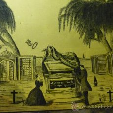 Arte: TINTA SOBRE CRISTAL, RECUERDO FÚNEBRE, S XIX. Lote 27545339