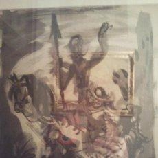 Arte: TINTA SOBRE CARTÓN DE PEDRO FLORES REPRESENTANDO A DON QUIJOTE Y SANCHO PANZA. MEDIDAS 30 X 27. Lote 27664399