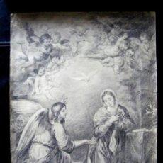 Arte: DIBUJO ORIGINAL FIRMADO EN 1968 - ANUNCIACION DE MURILLO ( SEVILLA ). Lote 27889342