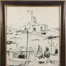 Arte: JOAQUIM TERRUELLA, SANT POL DE MAR, DIBUJO TINTA SOBRE PAPEL 38X50 CM, .. Lote 27942415