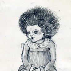 Arte: HELENA DE LA GUARDIA : LA NIÑA ERIZO (1976) DIBUJO A LÁPIZ SOBRE CARTÓN. Lote 28194850