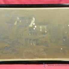 Arte: DIBUJO A LAPIZ CON TOQUES DE CLARIÓN GRANJA AL BORDE DE UN RIO FIRMADO L ROUSSEL 1853. Lote 28306554