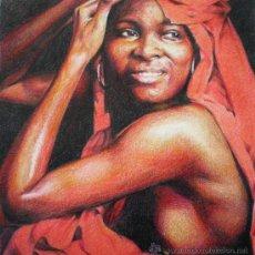 Arte: RETRATO DESNUDO MUJER AFRICANA - DIBUJO ORIGINAL. Lote 28342584