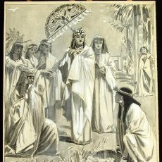 Arte: FRANZ GAILLIARD (BÉLGICA, 1861-1932) - MOISÉS ABANDONADO EN EL RÍO NILO. Lote 28385079