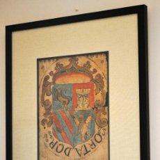 Arte: HERALDICA. IMPRESIONANTE ESCUDO DE ARMAS DE ORTADOR DEL SIGLO XVII. EJECUTORIA DE HIDALGUIA. 36X26CM. Lote 28793474