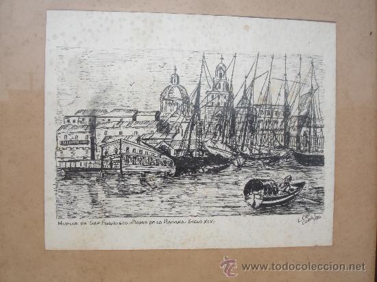 MUELLE BAHIA SIGLO XIX HABANA CUBA (L.CAO) (Arte - Dibujos - Modernos siglo XIX)