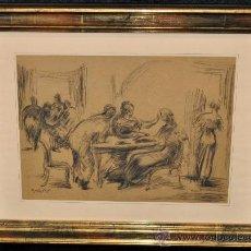 Arte: PEDRO MOZOS MARTÍNEZ (HERRERA DE VALDECAÑAS, PALENCIA, 1915 - 1983) DIBUJO A CARBÓN. INTERIOR. Lote 28994714