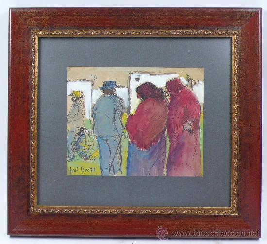 JORDI SERRA, DIBUJO DE PERSONAJES, ROTULDOR SOBRE PAPEL, MARCO: 35X31 CM. DIBUJO:15X19CM. (Arte - Dibujos - Contemporáneos siglo XX)