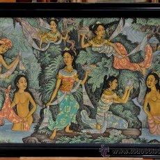 Arte: PRECIOSA TELA PINTADA DE TEMATICA EROTICA DE BALI. INDONESIA. FIRMADO W. DANA. N.Y. UBUD.. Lote 29053171