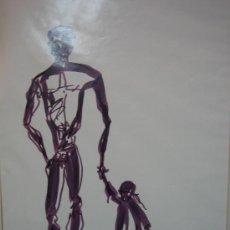 Arte: DIBUJO DE PADRE CON NIÑA. Lote 29119829