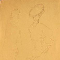 Arte: CURIOSO DIBUJO A LÁPIZ DE PERE / PEDRO YNGLADA. PAREJA. HACIA 1900. Lote 29317688