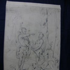 Arte: DIBUJO A LAPIZ ALEGORIA INDIGENAS AMERICA SOBRE PAPEL DOBLECARA REVERSO A TINTA CRUZADAS 1800. Lote 127016988