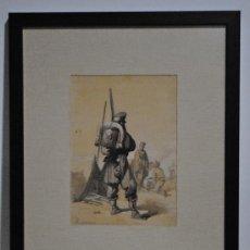 Arte: 1880?.- GUERRA DE AFRICA MARRUECOS. SOLDADO DE INFANTERIA. AGUADA DE ALEJADRO FERRANT Y FISCHERMANS.. Lote 29664119