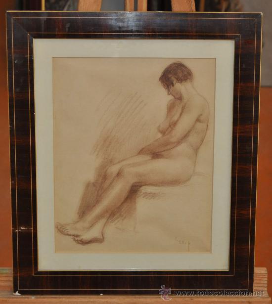 Arte: FRANCISCO LLOP I MARQUÉS (Campredó,1873- Barcelona,1970) DIBUJO A SANGUINA. DESNUDO FEMENINO - Foto 1 - 29810284