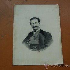 Arte: DIBUJO A CARBON DE POLITICO ESPAÑOL FAMOSO DE S.XIX A CARBON. FIRMADO E. BARRENA.. Lote 29880681