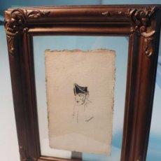 Arte: DIBUJO ORIGINAL A TINTA CHINA, FIRMADO Y AL DORSO DEDICADO 1916. Lote 29962338