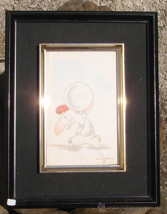 Arte: Original de Xavier Cugat - Caricatura - 25 x 16 cm - el enano fortachón - Foto 2 - 29974402