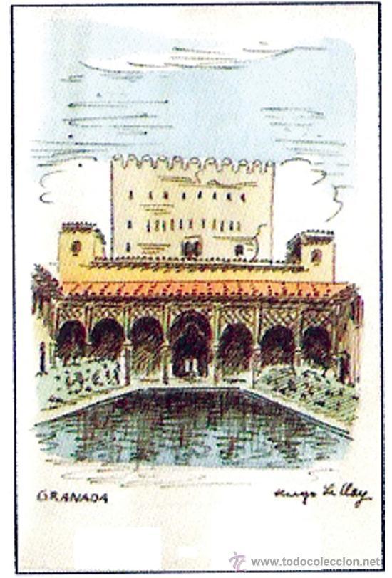 LE CLAY, HUGO.-PATIO DE LA ALBERCA, CON LA TORRE DEL HOMENAJE, CUADERNILLO CON CORDONCILLO (Arte - Dibujos - Contemporáneos siglo XX)