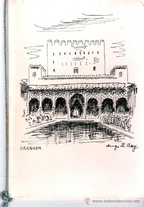 LE CLAY, HUGO.- DIBUJO DEL GENERALIFE DE GRANADA A TINTA SIN COLOREAR, CUADERNILLO CON CORDONCILLO (Arte - Dibujos - Contemporáneos siglo XX)