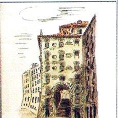 Arte: LE CLAY, HUGO.- DIBUJO A TINTA DEL - ARCO DE CUCHILLEROS - MADRID. COLOREADO . Lote 30409485