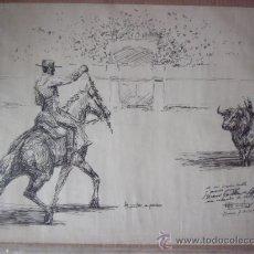 Arte: DIBUJO ORIGINAL A PLUMILLA CORRIDA DE TOROS. LINARES 7-11-1969. A. MARTOS?. Lote 30372027