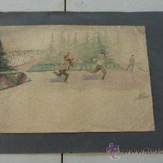 Arte: FIRMADO A. SERRA (PODRIA SER ANTONI SERRA FITÉ). DIBUJO ACUARELA DE 1892.. Lote 30667388