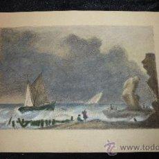 Arte: ANONIMO. DIBUJO A LAPICES DE COLOR, MARINA. Lote 30611977