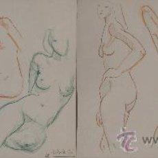 Arte: RAMÓN AGUILAR MORÉ (1948?)- PAREJA DE DIBUJOS - EL ESTUDIO DE LA FIGURA HUMANA.. Lote 30687329
