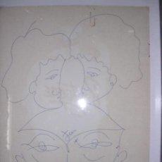 Arte: JEAN COCTEAU - DIBUJO A TINTA FIRMADO - REALIZADO EN LA PARTE POSTERIOR DE UN MENU 32X25 CM. . Lote 30707492