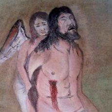 Arte: DIBUJO PASTEL SOBRE PAPEL CRISTO Y ANGEL.FIRMADO. Lote 30750447
