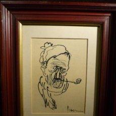 Arte: PERSONAJE CON PIPA. DIBUJO A TINTA SOBRE PAPEL. FIRMADO ILEGIBLE.. Lote 30798011