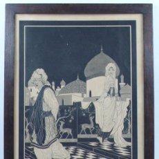 Arte: R.J. DE VENTOSA, 1924. DIBUJO EN TINTA SOBRE PAPEL DE TEMÁTICA ORIENTAL, 44X33 CM. . Lote 30968827