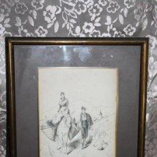 Arte: N1-012. GRACIOSO DIBUJO A PLUMILLA DEL S.XIX - TITULADO 'VENIM DE LA FIRA' FIRMADO ROMERO. Lote 31006565