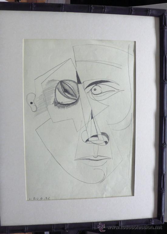 J. RÍOS G. DIBUJO ABSTRACTO LAPIZ SOBRE PAPEL FIRMADO Y FECHADO (Arte - Dibujos - Contemporáneos siglo XX)