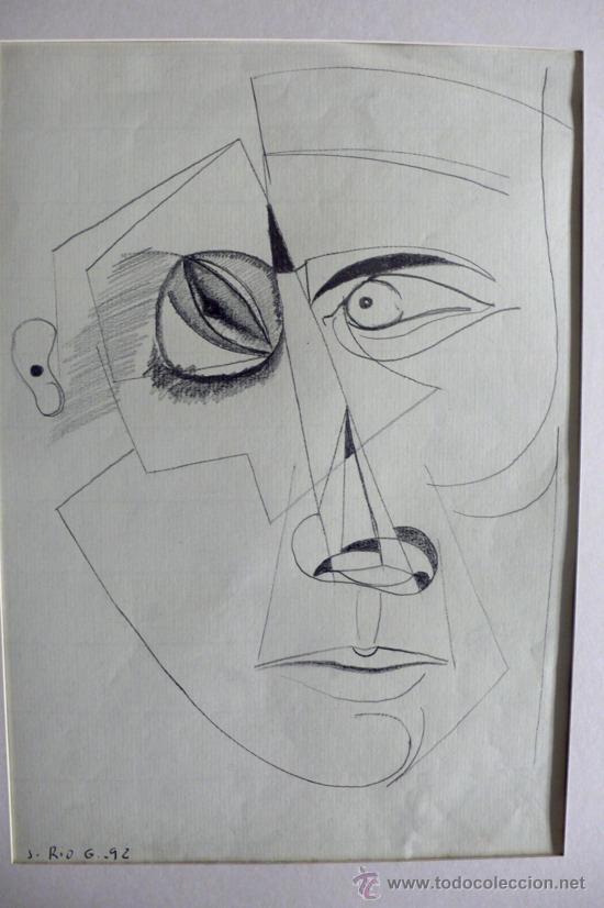 Arte: J. Ríos G. Dibujo abstracto lapiz sobre papel firmado y fechado - Foto 2 - 31046176