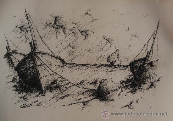 OTERO 1984 - PLUMILLA - 36 X 50 CM - TORMENTA EN LA COSTA. (Arte - Dibujos - Contemporáneos siglo XX)