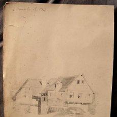 Arte: PAISAJE RURAL. DIBUJO ORIGINAL A LAPIZ, FECHADO EN 1875. Lote 31086447