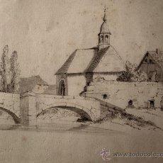 Arte: PAISAJE RURAL. DIBUJO ORIGINAL A LAPIZ. FIRMADO Y FECHADO EN 1875. Lote 31086543