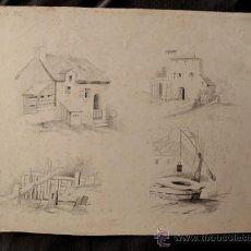 Arte: PAISAJES RURALES. 4 ESBOZOS ORIGINALES A LAPIZ. FECHADOS EN 1876. Lote 31086736