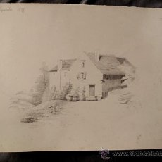 Arte: PAISAJE RURAL. DIBUJO ORIGINAL A LAPIZ. FECHADO EN 1875. Lote 31086768