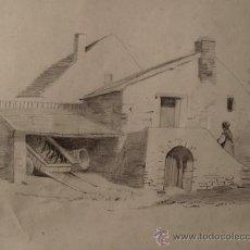 Arte: DIBUJO ORIGINAL A LAPIZ. TEMA RURAL. FECHADO EN ENERO DE 1876. Lote 31087421