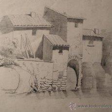 Arte: DIBUJO ORIGINAL A LAPIZ. TEMA RURAL. FECHADO EN 1876. Lote 31087531