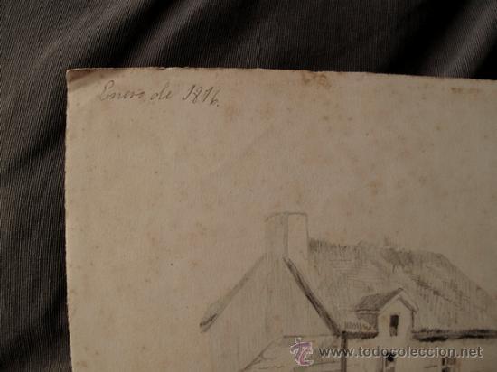 Arte: PAISAJES RURALES. 4 ESBOZOS ORIGINALES A LAPIZ. FECHADOS EN 1876 - Foto 2 - 31086736