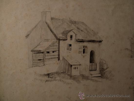 Arte: PAISAJES RURALES. 4 ESBOZOS ORIGINALES A LAPIZ. FECHADOS EN 1876 - Foto 3 - 31086736